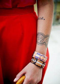 hand tattoos for women #24 Mandala-style bracelet tattoo on forearm