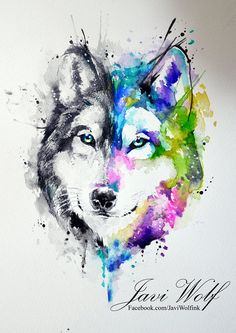 Watercolor wolf - other suggestion with Scottish flag behind it tatuajes | Spanish tatuajes |tatuajes para mujeres | tatuajes para hombres | di… | Pinteres…