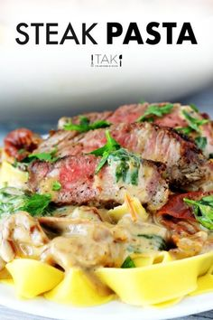 Deeply flavorful and extra hearty, this Steak Pasta features sliced pan-seared steak, an irresistibly creamy, Gouda cheese sauce, and comes fully loaded with fresh veggies like sun-dried tomatoes, spinach, and more! Serve it over Pappardelle, Farfalle, or Rigatoni pasta to cure any and all comfort food cravings! It's quick and easy to make, and comes together in just 30 minutes. Use as a quick-fix, weeknight dinner or for entertaining! Steak Recipes, Pasta Recipes, Dinner Recipes, Steak Pasta, Smoked Gouda Cheese, 30 Min Meals, Pan Seared Steak, Dinner Menu, Dinner Ideas