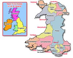 Wales Map - My husbands ancestors were from Wales, then Lancashire England and moved to the Scottish Highlands and then immigrated to America. So fascinating!