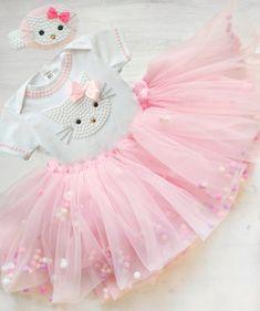 c6ae8ca32a42d Pink Hello Kitty Birthday Tutu Set with Pom pom skirt