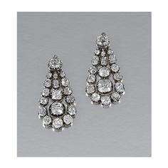 PAIR OF DIAMOND EARRINGS, 1840s | lot | Sotheby's