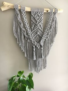 Image of 'Moonstone' ~ Soft Grey Macrame Wall Hanging