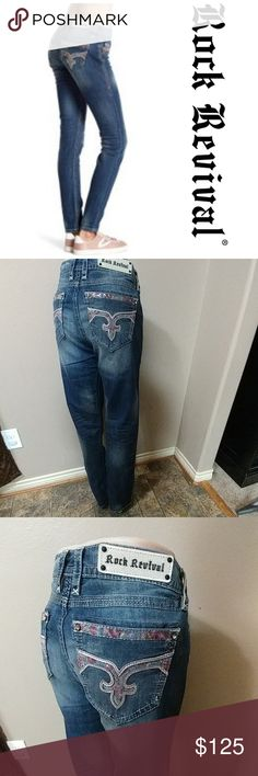 """NWT 32x33.5 Rock Revival Skinny NWT Rock Revival Mesh Skinny jeans size 32, inseam 33.5"""", rise 9"""", waist laid flat 17"""". Fading and light distressing. Brand new with tags. First picture for reference. Rock Revival Jeans Skinny"""