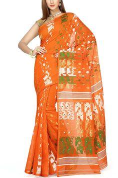 Giants Orange & Tri-color Dhakai Cotton Jamdani Saree