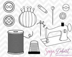 This Cute Sewing clip art set contains 22 pieces of high quality clip art. Sewing machine, pincushion, needle and thread, buttons, thimble, thread spools, and more! CURRENT SPECIALS 50% OFF Sale WHAT YOU GET CLIP ART- PNG (300 dpi) with transparent backgrounds- VECTOR/EPS (Illustrator v.10)All files saved separately and compressed together in a zip folder.Sonya DeHart Design