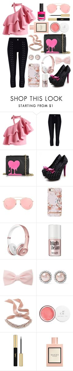 """""""Random Set: But not actually purposelessly created!!!😁"""" by suyasha-singh ❤ liked on Polyvore featuring Chicwish, River Island, Love Moschino, Dita, Forever 21, Miu Miu, Fallon, Yves Saint Laurent, Gucci and Piggy Paint"""