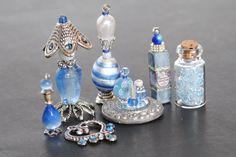 Handmade Dollhouse Miniature Vanity/Toiletries/Jewelry, Miniature Perfume, Dollhouse Mini Bottles, Mini Perfume, Blue and Silver Set
