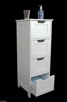 White Wooden Storage Cabinet Four Drawers Door Bathroom Bedroom Freestanding Drawers