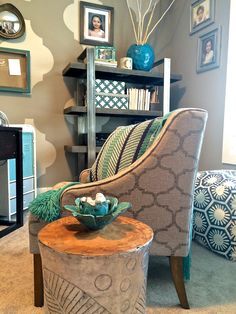 Fall is the time to create a cozy nook in your home office. A wood and tin drum accent table and concrete and steel bookcase add  pattern and texture. Pair up with with neutral organic fabrics,pops of turquoise and wood accents to create a chic global style.  All furniture and accessories from HomeGoods. Sponsored HomeGoods Post.