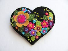 Felt Flower Heart Pin \/ RESERVED FOR CONNIE