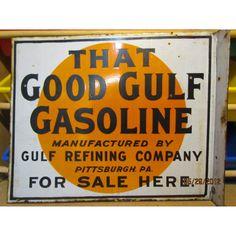 "Original ""That Good Gulf"" Double-Sided Porcelain Flange Sign 22""W x 18""H  |  vintage signage"