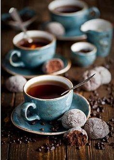 'Breakfast with tea and chocolate cookies' by Anna Verdina Karnova