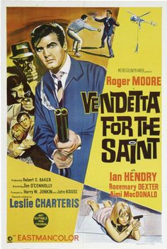 Ian Hendry + Roger Moore (Vendetta For The Saint Tv Vintage, Vintage Movies, Classic Tv, Classic Movies, James Bond, The Saint Tv Series, Eric Rogers, Film Posters, Theatre Posters