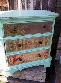Painted Ce Ce Caldwell's Santa Fe Turquoise and decoupage do card stock.  Cute…
