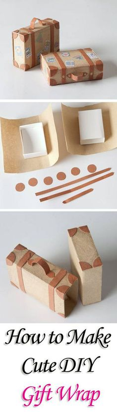 DIY Gift Wrapping Ideas - How To Wrap A Present - Tutorials, Cool Ideas and Instructions | Cute Gift Wrap Ideas for Christmas, Birthdays and Holidays | Tips for Bows and Creative Wrapping Papers |  Matchbox-Suitcase-Gift-Wrap|  http://diyjoy.com/how-to-wr