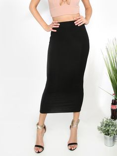 Online shopping for High Waist Fitted Midi Skirt BLACK from a great selection of women's fashion clothing & more at MakeMeChic.COM.