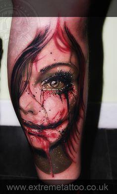 Zombie portrait tattoo,Gabi Tomescu.Extreme tattoo&piercing. Fort William.Highland.Realistic tattoo, Black and grey tattoo