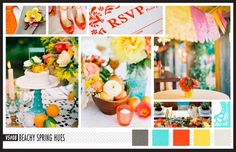 Lizzy B Loves visual + sparkle = inspiration : Beachy Hues perfect for a Spring Wedding #wedding_inspiration #wedding_color_palette #color_palette_inspiration