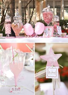 princessbirthdayparty (Cute for inspiration but man do people spend WAY TOO MUCH MONEY on a 3-year-old's birthday! I mimicked the pink and white; (uneaten) candies in glass jars, table linens, pink (food colouring, not over-sweet strawberry) milk, pink lemonade, pink frosting (on carrot muffins)...)