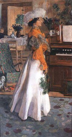 """Józef Mehoffer-""""Portret żony""""-1904 r olej na pł."""