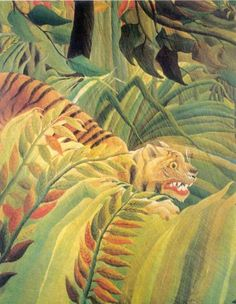 Detail from Tiger in Storm (Surprised I). by Henri Rousseau