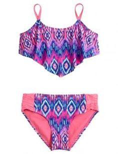 Tribal Flounce Bikini Swimsuit | Girls Bikinis Clearance Swimsuits | Shop Justice