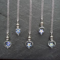 Forget-me-not s - Flower Glass Vial Pendant - Bridesmaids £12.49