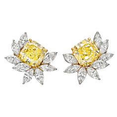 Harry Winston Important Fancy Yellow and White Diamond Floral Cluster Earclips | From a unique collection of vintage clip-on earrings at http://www.1stdibs.com/jewelry/earrings/clip-on-earrings/