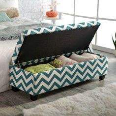 Ponder the possibilities you'll have with the angelo:HOME Kent Storage Bench Ottoman - Blue Chevron . Whether you need decorative storage, extra. Home Bedroom, Bedroom Decor, Bedrooms, Master Bedroom, Shoe Storage Ottoman, Storage Benches, Toy Storage, Muebles Living, Multipurpose Furniture