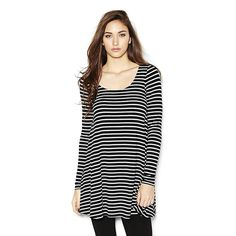 Striped Long Sleeve Swing Dress.