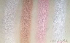 Swatches of Makeup Revolution Protection Palette in Light/Medium - Silky Touch Anti Shine Powder, Contouring Bronze, Contouring Blush, Contouring Highlighter