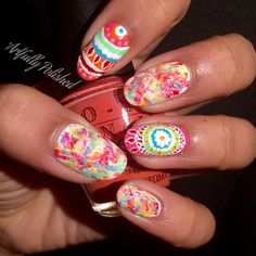 Colorful tribal by @artfullypolished | Enter or vote in the Hard Candy Spring Nail Art Contest!