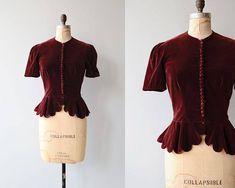 Contralto velvet blouse vintage 1930s jacket red velvet