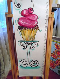 Pink CUPCAKE growth chart personalized fun whimsical by AdoraArt, $48.00