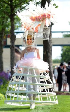 Royal Ascot dress code: The women who got past the fashion police Ascot Dress Code, Ascot Dresses, Funky Hats, Crazy Hats, Silly Hats, Royal Ascot Hats, Derby Day, Kentucky Derby Hats, Weird Fashion