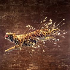From Cai Studio, Cai Guo-Qiang, Inopportune: Stage Two (2004), Nine life-sized tiger replicas, arrows, and mountain stage prop. Tigers: papier-mâché, plast…