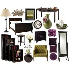 Purple & Green looking perfect with dark wood furniture! Bedroom: dark green, dark purple, beige, white and black furniture.