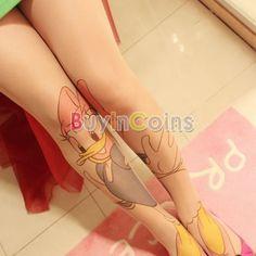 Womens Donald Duck Print Sock Tattoo Pantyhose Tights Silk Stocking Leggings | eBay