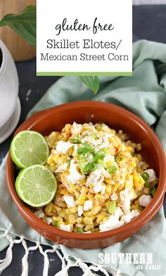 Easy Skillet Elotes Mexican Street Corn Salad - This warm corn salad is sure to be a hit and is the perfect gluten free side dish for any Mexican fiesta520inspired by Disneyland California Adventure Gluten Free Sides Dishes, Healthy Side Dishes, Corn Salads, Easy Salads, Mexican Food Recipes, Dinner Recipes, Mexican Street Corn Salad, Corn Recipe, Disneyland California