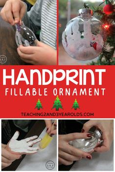 This easy handprint ornament can be filled with small pieces and given as a keepsake gift for the holidays! #Christmas #art #preschool #3yearolds #teaching2and3yearolds Kids Christmas Ornaments, Baby Ornaments, Christmas Door Decorations, Easy Christmas Crafts, Ornament Crafts, Christmas Ideas, Christmas Art, Christmas Gifts, Christmas Activities For Toddlers