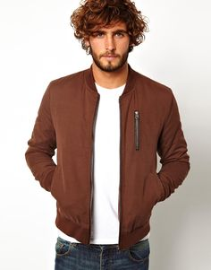 Buy ASOS Bomber Jacket at ASOS. Get the latest trends with ASOS now. Brown Bomber Jacket, Bomber Jackets, Leather Jackets, Thailand Outfit, Asos, Grey Outfit, Men's Wardrobe, Jacket Style, Cool Outfits