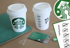 """Teacher Gift Card Printables - Starbucks Cup Sleeve. Print out this super cute """"sleeve"""", adhere to cup, write your teacher's name on the outside and pop a gift card inside. Perfect for Teacher Appreciation or End-of-Year Gift. via @alphamom. Check out our entire round-up of awesome teacher printables at whatmomslove.com."""