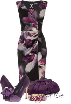 A fashion look from June 2014 featuring purple dresses, and clear purse. Browse and shop related looks. Mode Outfits, Dress Outfits, Fashion Outfits, Womens Fashion, Fashion Trends, Work Fashion, Fashion Looks, Mode Ootd, Modelos Fashion