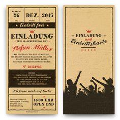 Geburtstagseinladungen - Vintage Ticket