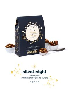 Silent Night - Three comforting caffeine-free teas, a Perfect Spoon and a pack of tea filters.
