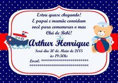 Convite chá de bebê (digital)                                                                                                                                                     Mais Diy Party, Baby Boy, Baby Shower, Sailor Baby, Nautical Invitations, Sailor Theme, Card Templates Printable, Invitations, Babyshower