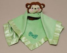 Fisher-Price-Monkey-Lovey-Baby-Security-Blanket-Green-Velour-Satin-15-x-15