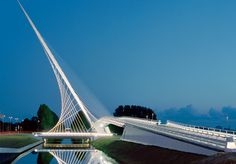 One of three Calatrava bridges over the Hoofdvaart in Hoofddorp, the Netherlands