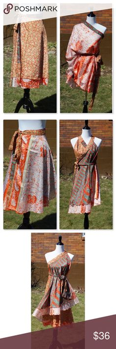 """Reversible Sari Wrap Skirt/Dress. Upcycled Midi. Gorgeous Sari fabrics are rescued from the landfill and remade in a modern Boho style by skilled Indian artisans. This one-of-a-kind piece can be tied 100 ways! I'll start you off with 12, check YouTube for more. It's handmade so each one is unique. Get exactly what you see in the pics. Longest layer 30"""", shorter layer is 26"""". Fabric width 47"""", ties 48"""" each. This is sometimes called a magic wrap. Wear it as a dress, skirt or top! I have more…"""